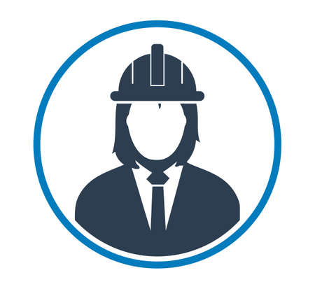 Female Engineer Profile Icon. Flat style vector EPS.