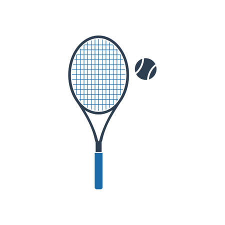 Tennis Racket and Ball Icon. Flat style vector EPS.