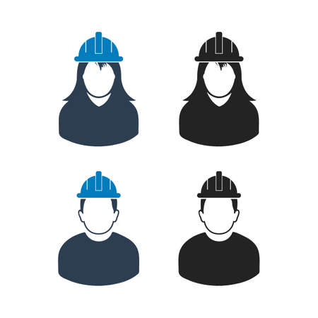 Worker Icon Set. Flat style vector EPS.  イラスト・ベクター素材