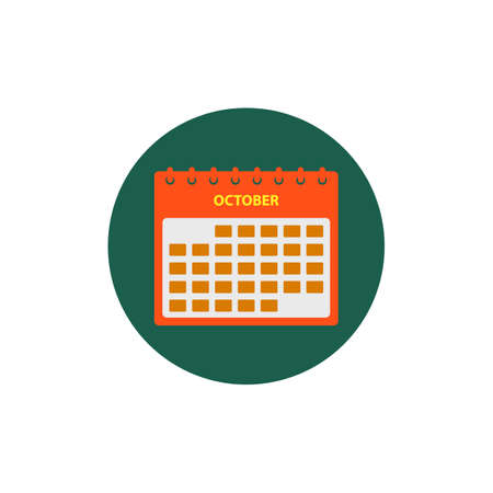 October Calendar Icon. Button style vector EPS.