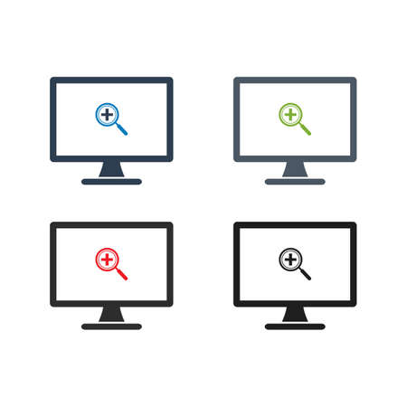 Search in Computer Icon. Flat style vector EPS.