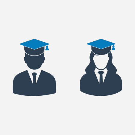 Male and Female Graduate Student Icon. Editable Vector EPS Symbol Illustration.