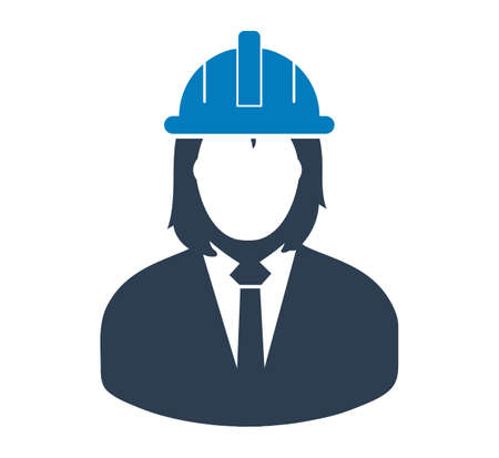 Female Engineer Icon. Flat style vector EPS.