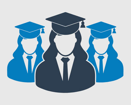 Graduate Student Team Icon. Female symbols with cap on head. Flat style vector EPS.
