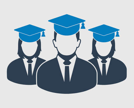 Graduate Student Team Icon. Male and female symbols with cap on head. Flat style vector EPS.