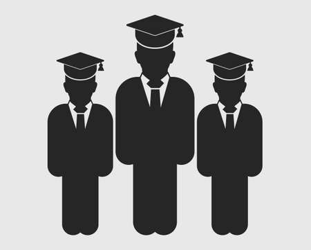 Graduate Student Team Icon. Standing Male symbols with cap on head. Flat style vector EPS. Stock Illustratie