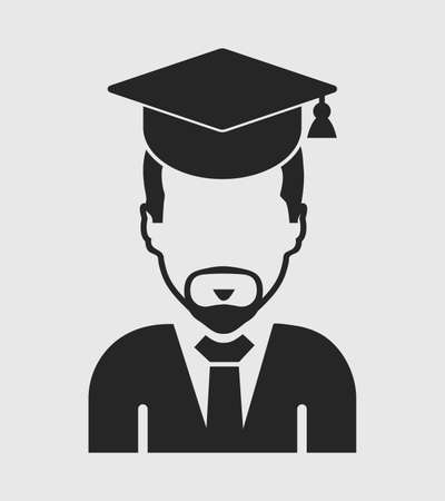 Male graduate student icon with gown and cap. Flat style vector EPS. Stock Illustratie