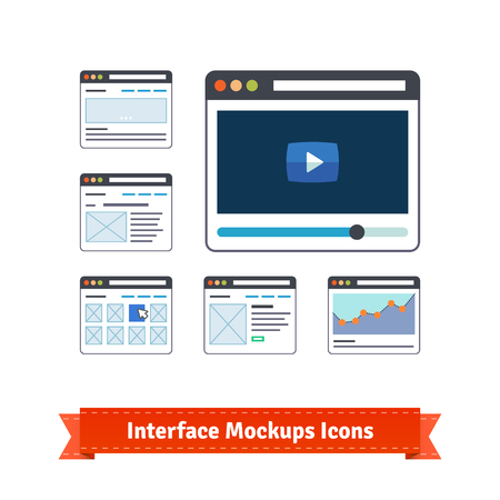 user experience design: Essential website interface prototyping mock ups and wire frames icons.