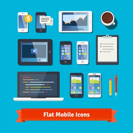 Mobile computing and development flat icons set.  Simple to work with and customizable isolated illustration elements. Package contains eps10 vector file and 16 megapixel maximum quality jpg. Illustration