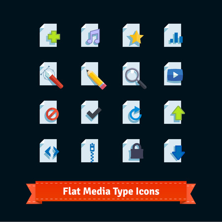 inaccessible: Flat media type icons set. Simple to work with and customization isolated illustration elements. Illustration