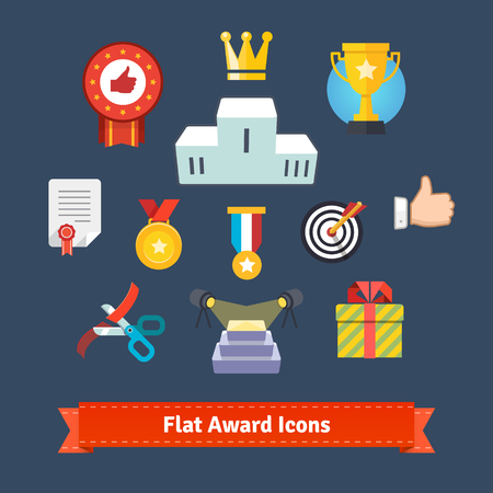 winners podium: Award icons in colorful flatness. Simple to work with and customization isolated illustration elements.