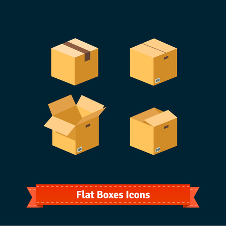 product box: Flat style boxes isometric icons. Simple to work with and customization isolated illustration elements.