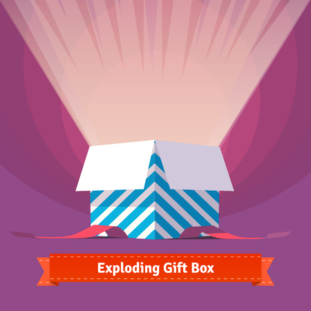 gift background: Exploding celebration gift box. Simple to work with and customization isolated illustration elements.