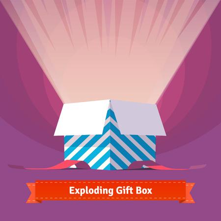 lazo regalo: La explosión de la caja de regalo de celebración. Fácil de trabajar y de personalización aislada elementos de ilustración. Vectores
