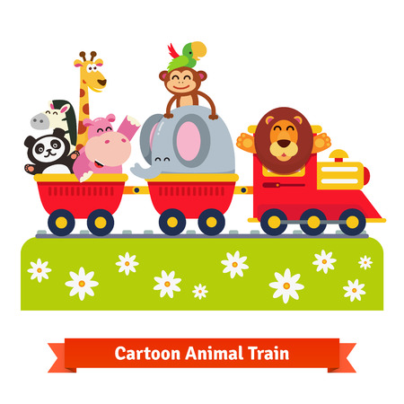 zoos: Animal train. Happy lion in locomotive and cheerful elephant, monkey, parrot, hippo, giraffe and panda in railroad cars. Flat style vector cartoon illustration isolated on white background. Illustration