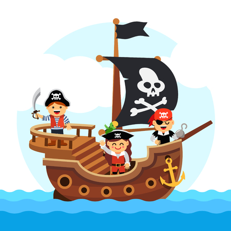 Kids pirate ship sailing in the sea with black flag and sail decorated with scull and cross bones. Flat style vector cartoon illustration isolated on white background. Ilustracja