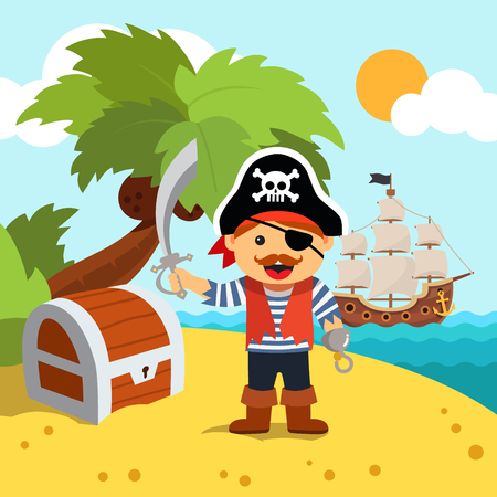 pirate cartoon: Pirate captain disembarked on a palm tree beach island shore to bury his treasure chest. Vector flat style isolated cartoon illustration.