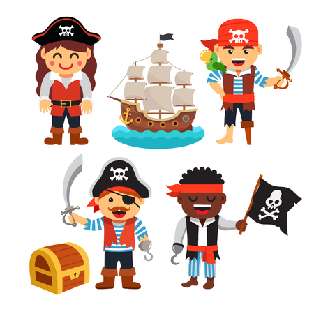 Pirate kids rascals, girls and boys, in hats and bandanas with treasure chest, black flag and ship. Flat style vector cartoon illustration isolated on white background. Illustration