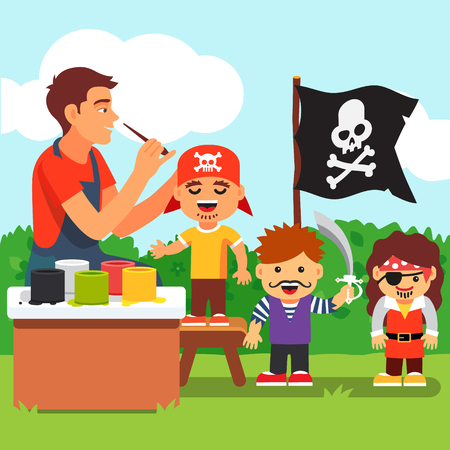 Pirate costume and painting party in kindergarten. Teacher painting kids face. Vector flat style isolated cartoon illustration.