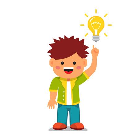 スマートな子供の明るい考えを持ちます。人差し指を持ちこたえて、白熱電球を指しています。フラット スタイル ベクトル漫画イラスト白背景に分  イラスト・ベクター素材