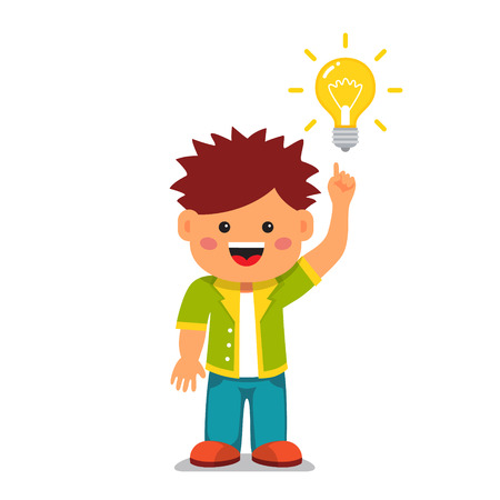 thinker: Smart kid having a bright idea. Holding index finger up and pointing to a glowing light bulb. Flat style vector cartoon illustration isolated on white background.