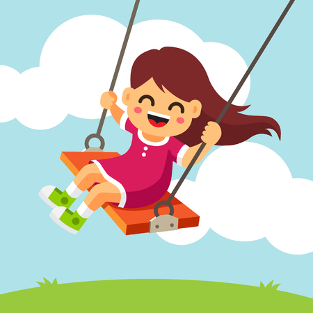 Chico Swinging. Muchacha sonriente feliz con el vuelo en el pelo de viento en un columpio. Vector estilo plano ilustración de dibujos animados.