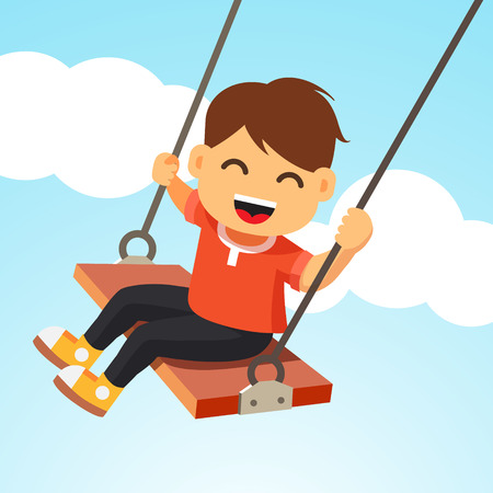 columpios: Chico Swinging. Muchacho sonriente feliz volar en un columpio. Vector estilo plano ilustración de dibujos animados.