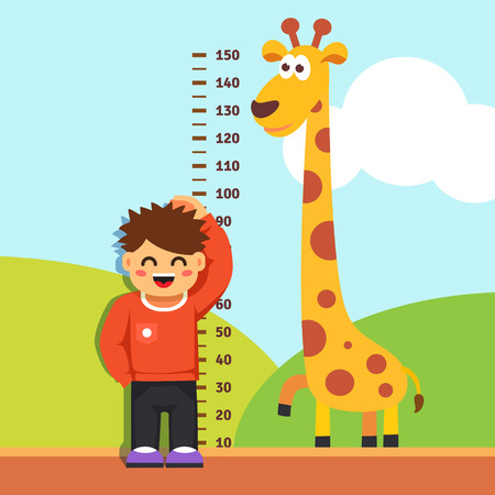 height: Boy kid is measuring his height with painted graduations on the kindergarten wall. Vector flat style isolated cartoon illustration.