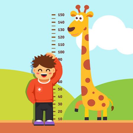 jirafa: Chico Boy está midiendo su altura con graduaciones pintados en la pared jardín de infantes. Vector estilo plano ilustración de dibujos animados. Vectores