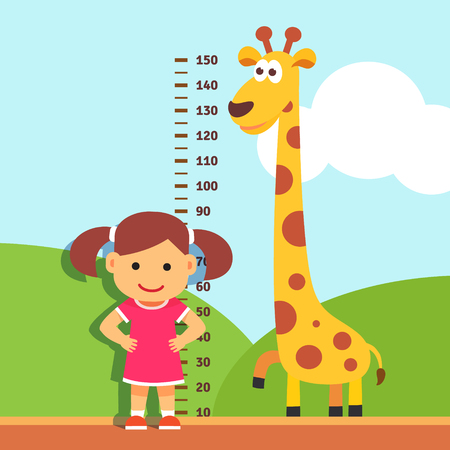 jirafa caricatura: Chica est� midiendo su altura con graduaciones pintados en la pared jard�n de infantes. Vector estilo plano ilustraci�n de dibujos animados. Vectores