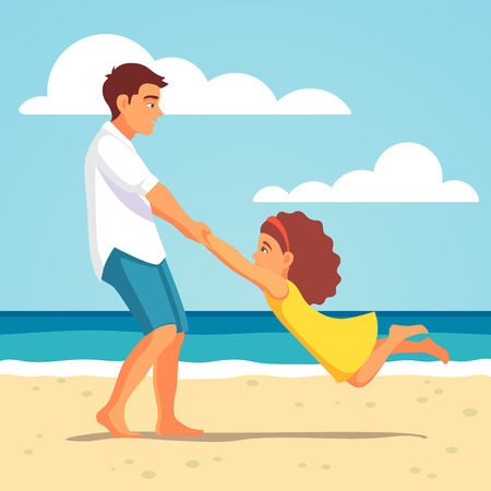 daddy: Father playing with his child daughter on the beach. Spinning her holding hands. Vector flat style isolated cartoon illustration.