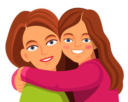 Madre y su hija abrazos y sonriente cara el uno al otro. Estilo Flat ilustración de dibujos animados de vectores aislados sobre fondo blanco.