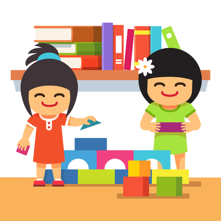 building bricks: Asian children playing bricks building tower together in kindergarden room. Flat style vector cartoon illustration isolated on white background.