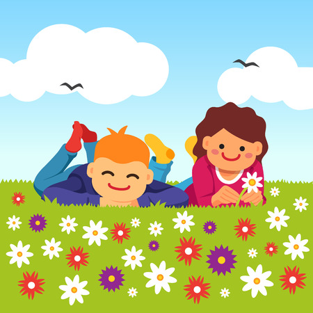 innocent: Happy kids laying on the meadow grass full of field flowers. Youth innocent platonic love. Young couple. Vector flat style isolated cartoon illustration.