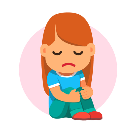 Sad girl sitting and unhappily hugging her knees. Flat style vector cartoon illustration isolated on white background. Çizim