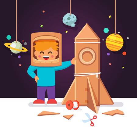 Kid making cardboard box rocket and astronaut costume helmet. Boy playing space exploration. Vector flat style isolated cartoon illustration.