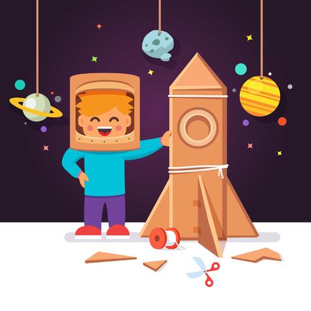 astronauta: Cabrito que hace la caja de cartón de cohetes y el casco del traje de astronauta. Muchacho que juega la exploración espacial. Vector estilo plano ilustración de dibujos animados.