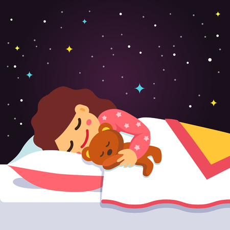 Cute sleeping and dreaming girl with teddy bear under her arm. Vector flat style isolated cartoon illustration.