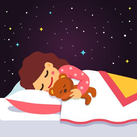 mujer acostada en cama: El dormir lindo y ni�a so�ando con el oso de peluche bajo el brazo. Vector estilo plano ilustraci�n de dibujos animados.