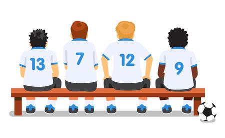 Equipo de fútbol fútbol deporte sentado en un banco. Ilustración de dibujos animados de vector de estilo plano aislado sobre fondo blanco.