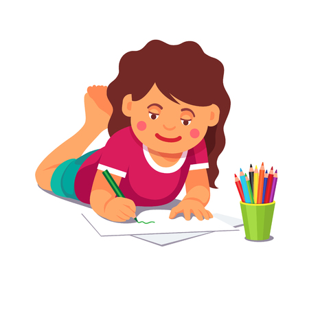 Girl drawing and colouring with pencils while lying on the floor. Flat style vector cartoon illustration isolated on white background.