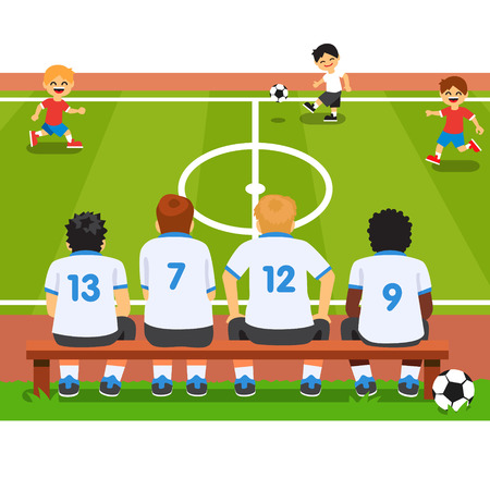 coaching: Children substitute replacement soccer team sitting on a bench, watching a match. Flat style vector cartoon illustration isolated on white background.
