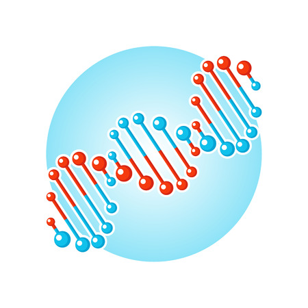 dna: DNA spiral symbol. Deoxyribonucleic acid double helix. Flat style vector icon isolated on white background.