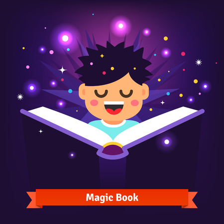 mana: Boy kid reading magic spell book. It glows with light, shining stars and sparkles. Flat style vector cartoon illustration isolated on dark background. Illustration