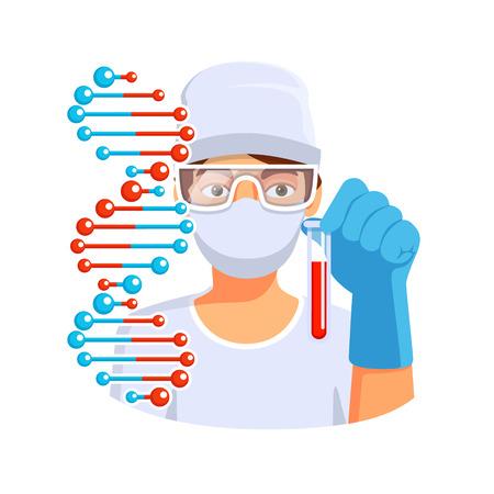 adn humano: Doctor o laboratorio médico del trabajador que sostiene el tubo de ensayo con sangre en la mano listo para hacer la secuenciación del ADN. Ilustración vectorial de estilo plano aislado en fondo blanco.