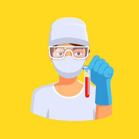 Doctor or medical lab worker holding test tube with blood in hand. Flat style vector illustration isolated on yellow background.