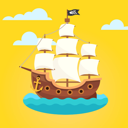 pirate cartoon: Pirate ship with white sails and black scull and crossed bones flag. Flat style vector icon.