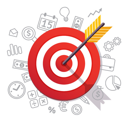 financial goals: Arrow hits target center. Dartboard arrow and icons. Business achievement and success concept. Straight to the aim symbol. Flat style vector illustration isolated on white background.