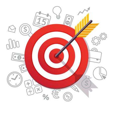 La flecha golpea el centro del objetivo. Dartboard flecha e iconos. Concepto de logro y éxito empresarial. Directo al símbolo del objetivo. Ilustración de vector de estilo plano aislado sobre fondo blanco.