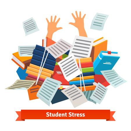 estudiar: Estrés Estudiante. Estudiar alumno enterrado bajo una pila de libros, libros de texto y documentos. Ilustración vectorial de estilo plano aislado en fondo blanco.